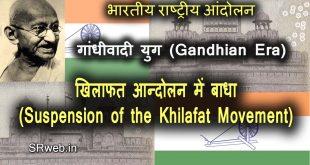 खिलाफत आन्दोलन में बाधा Suspension of the Khilafat Movement